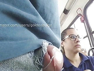 Girl looking at my head cock outside in the bus amateur public nudity hidden camera