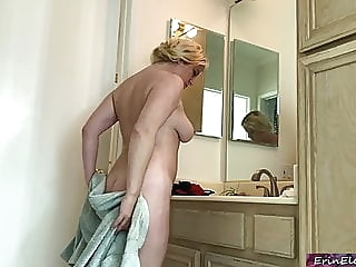 Stepson drills his stepmother while dad is in the shower amateur blonde milf