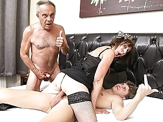 Fucked up Father and Son Pounding an Old Bitch amateur cumshot fingering